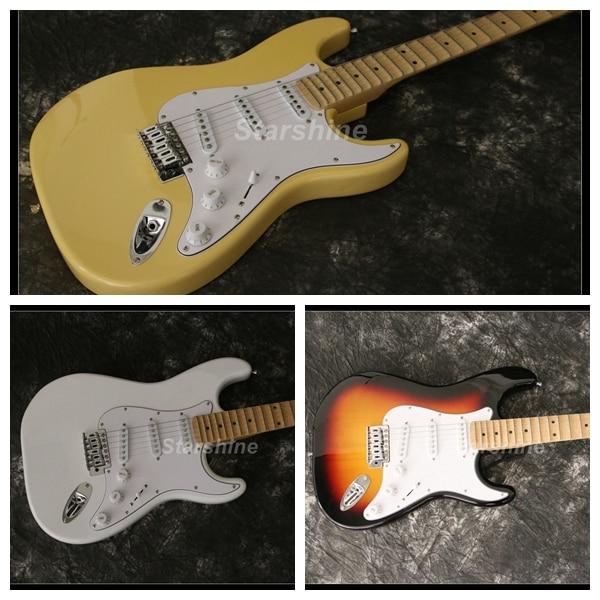 Yingwie S-GB5 guitarra eléctrica diapasón festoneado Color crema clavijero grande