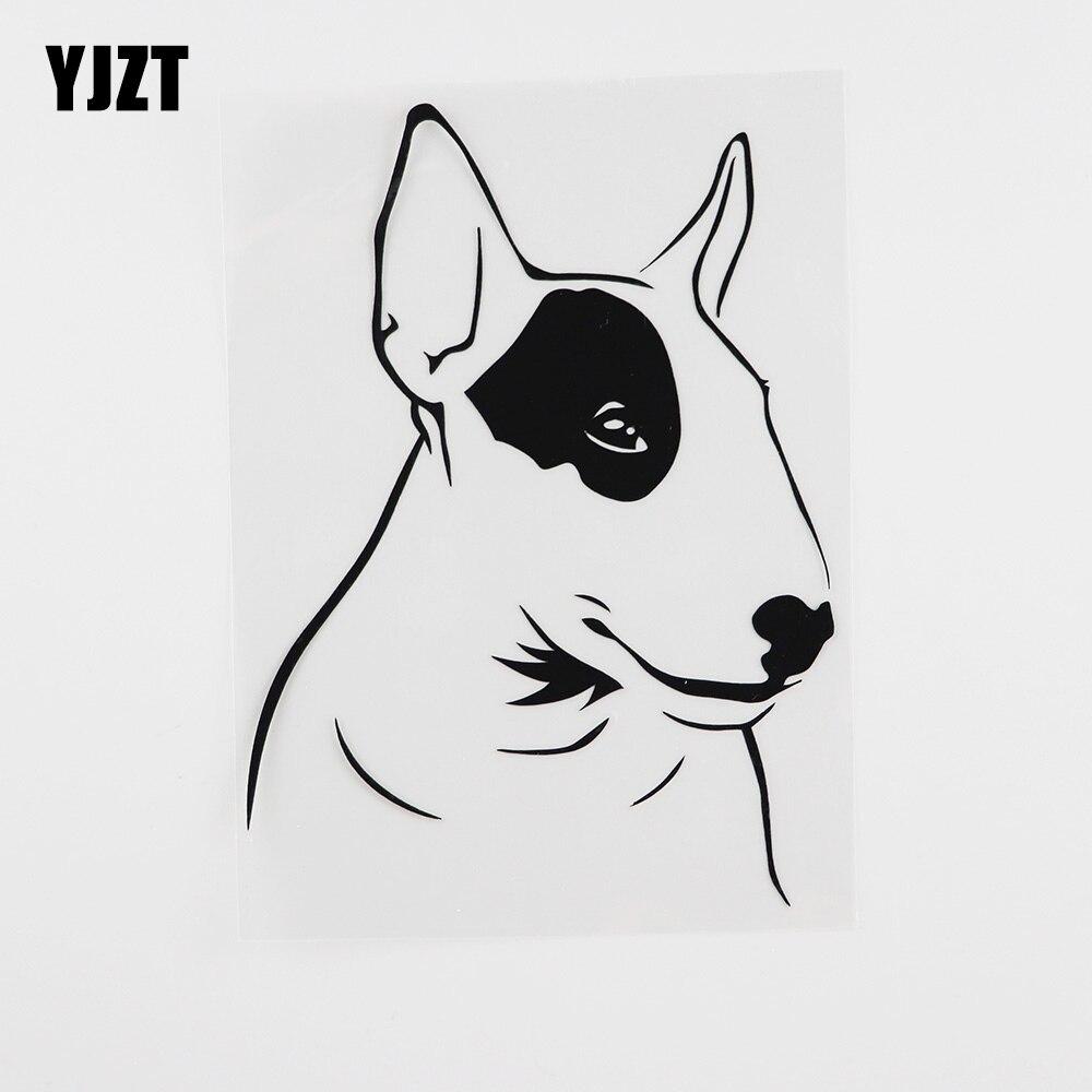 YJZT 11.9CMX15.9CM divertido Bull Terrier perro Animales Mascotas vinilo coche pegatina negro/plata 8A-0023