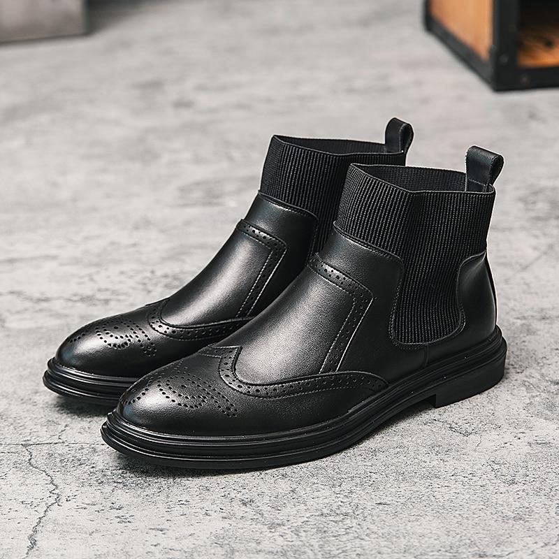 أحذية إيطالية للرجال ، أحذية عمل بدون أربطة ، جلد البقر مدبب ، جلد البقر ، مجموعة جديدة