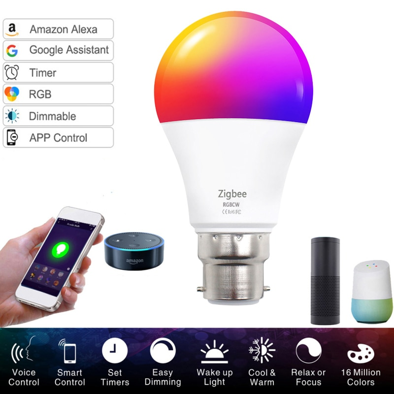 new e27 rgbw led lamp wifi smart light bulb 7w dimmable multicolor wake up lights compatible with alexa and google assistant Smart WiFi Light Bulb E27 B22 9W 10W Dimmable LED Lamp APP Smart Wake Up Night Light Compatible With Amazon Alexa Google Home