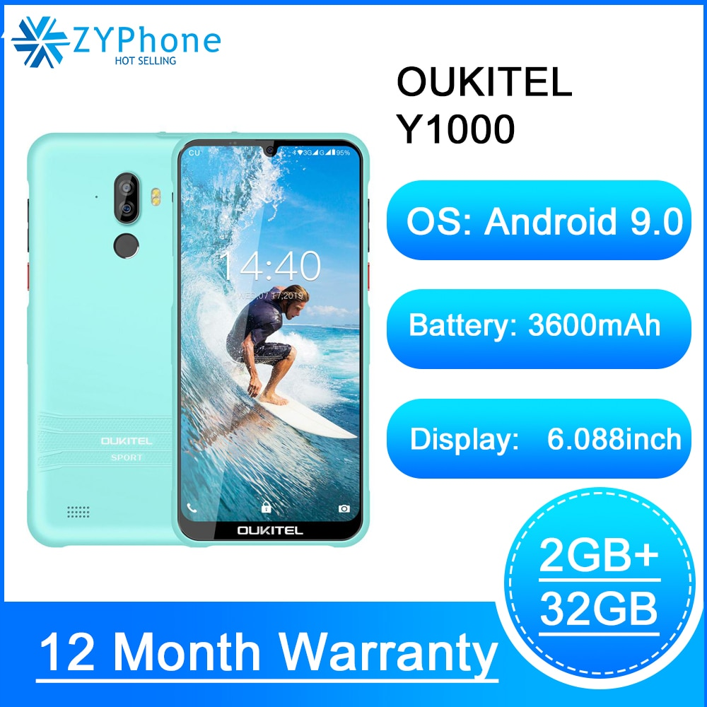OUKITEL Y1000 6.088'' IP68 Waterproof Rugged Smartphone 2GB 32GB MT6580P Face ID Fingerprint Android 9.0 Mobile Phone 3600mAh