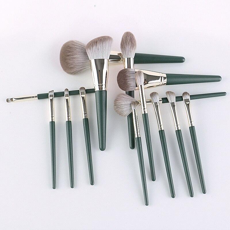 14Pcs Green Makeup brushes set Professional Natural hair brushes Foundation Powder Contour Eyeshadow make up brushes недорого