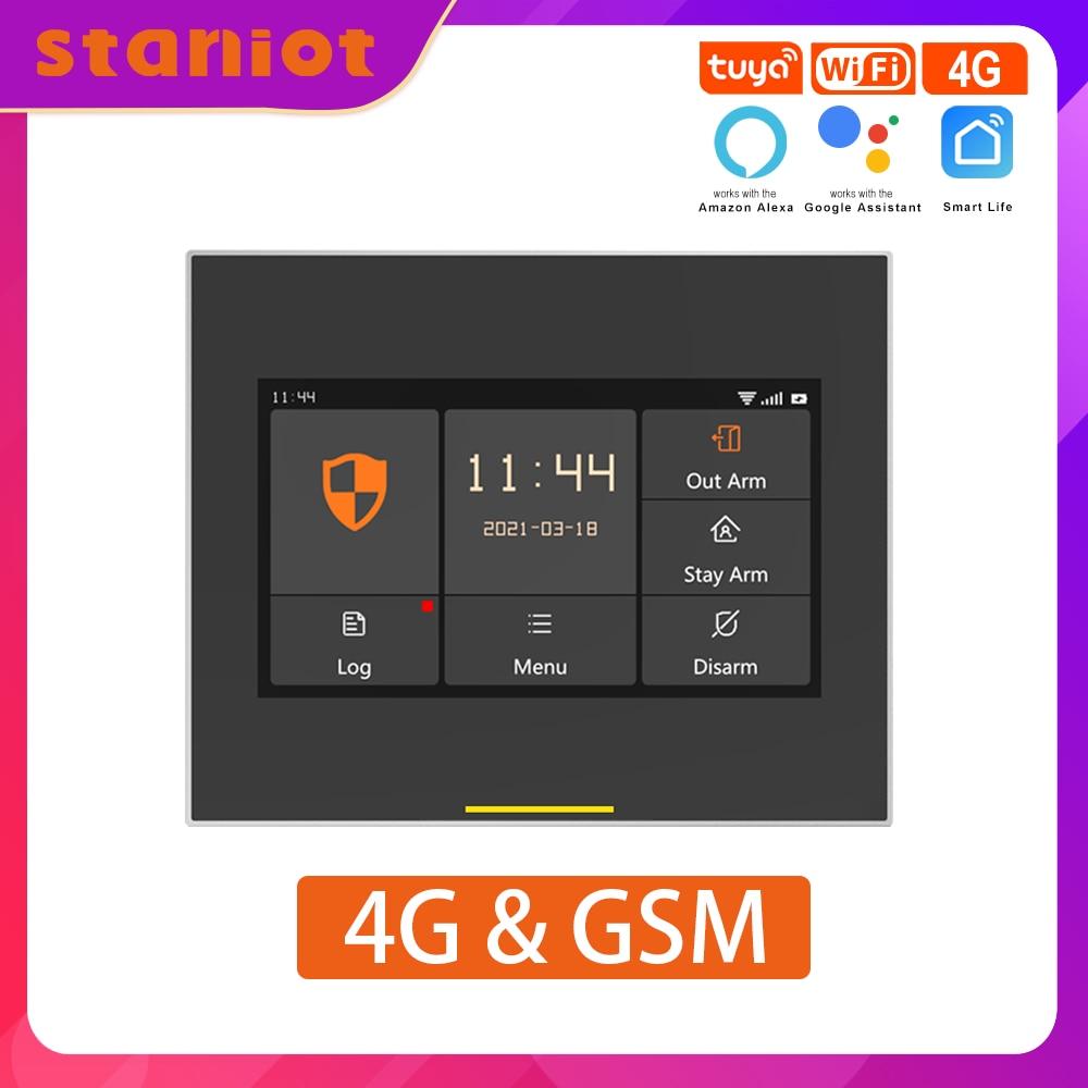Staniot GSM и 4G версии Tuya Интеллектуальные беспроводные комплекты охранной сигнализации для дома с Wi-Fi , Совместимость с Alexa и Google Home , С русским ин...