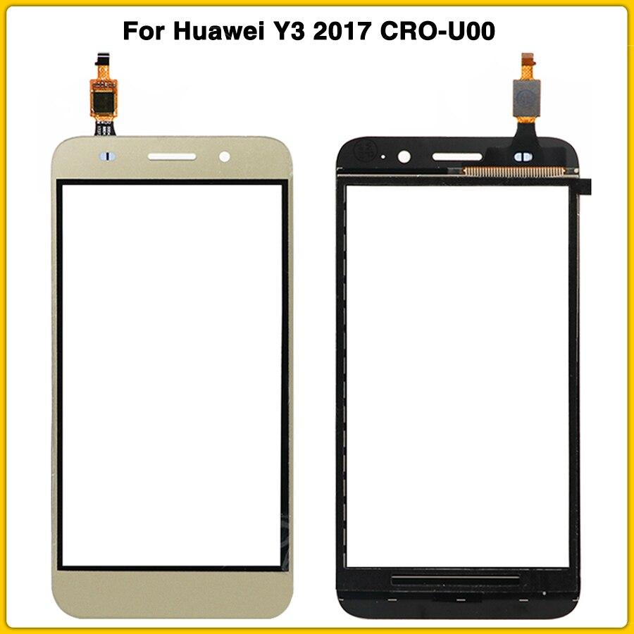 Nova tela de toque para huawei y3 2017 CRO-U00 CRO-L02 CRO-L22 painel da tela toque com digitador vidro lente frente exterior vidro