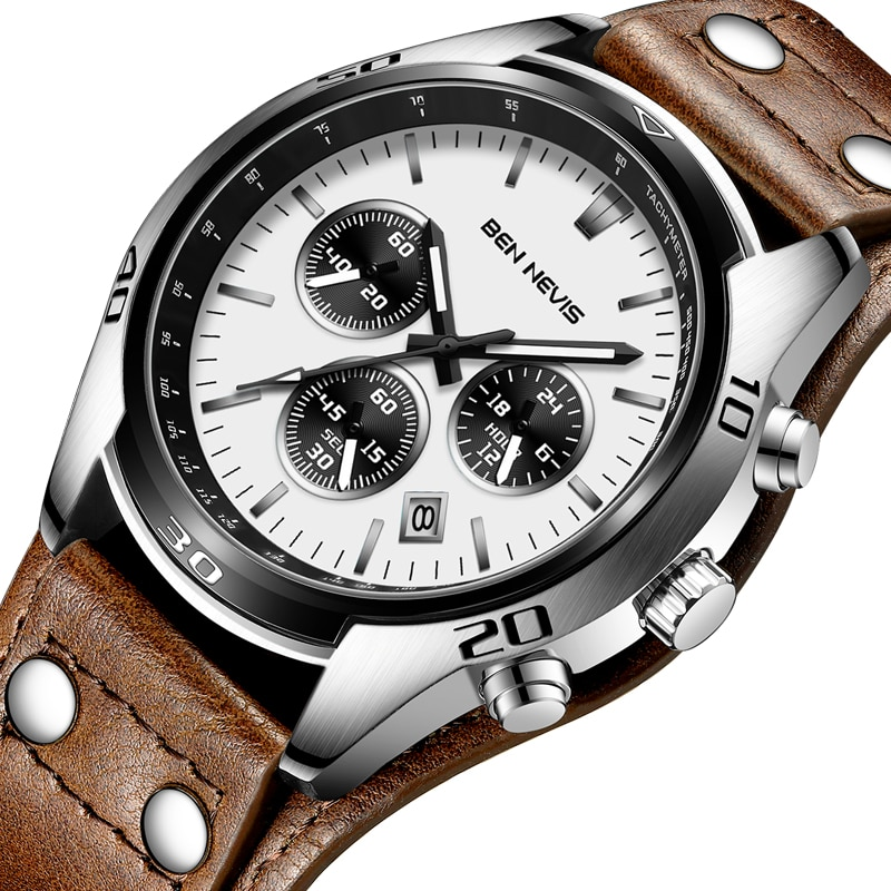 Ben Nevis Men Watches 2020 Luxury Military Watches Brown Leather Band Calendar Display Quartz Wrist Watch Male Clock