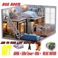 doll house wooden doll houses miniature blue times dollhouse furniture kit with led puzzle toys children christmas gift l023