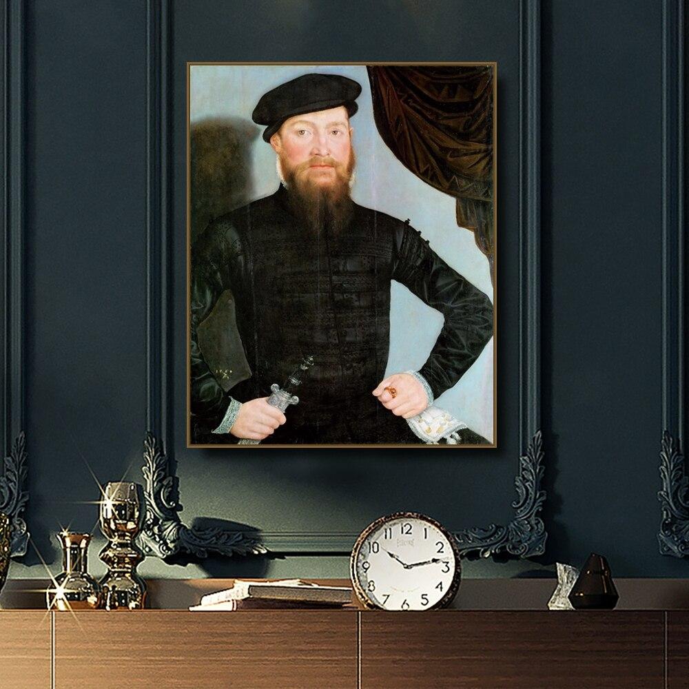Pintura Da Lona retrato de um Homem por Lucas Cranach Caligrafia Cópia do Cartaz Imagem Decoração para Sala de estar Quarto Decoração de Casa