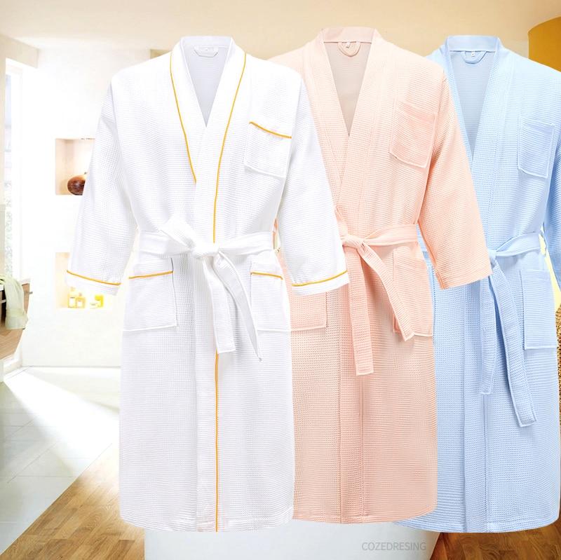 5 Star Hotel 100% Cotton Men Kimono Bathrobe Plus Size Towel Bath Robe Mens Waffle Robes for Women Long Dressing Gown Sleepwear