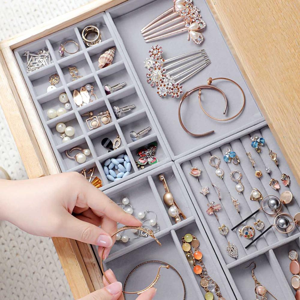 Velvet Jewelry Storage Tray Display Jewel Holder Stand Bracelet Necklace Ring Storage Box Showcase D