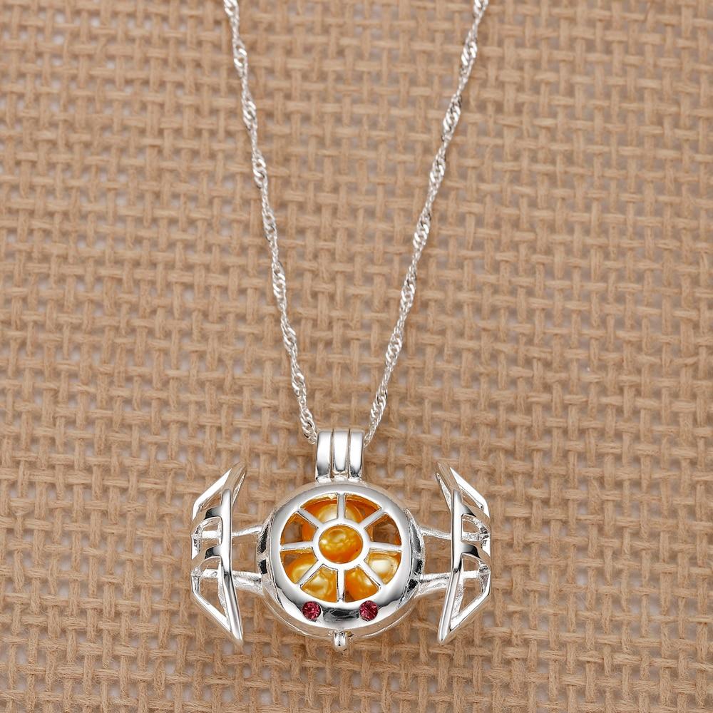 Star Wars Pearl Cage Necklaces Locket Women TIE Fighter Pendant Necklace Men Kids DIY Jewelry Accessories Fandom Fashion Gift