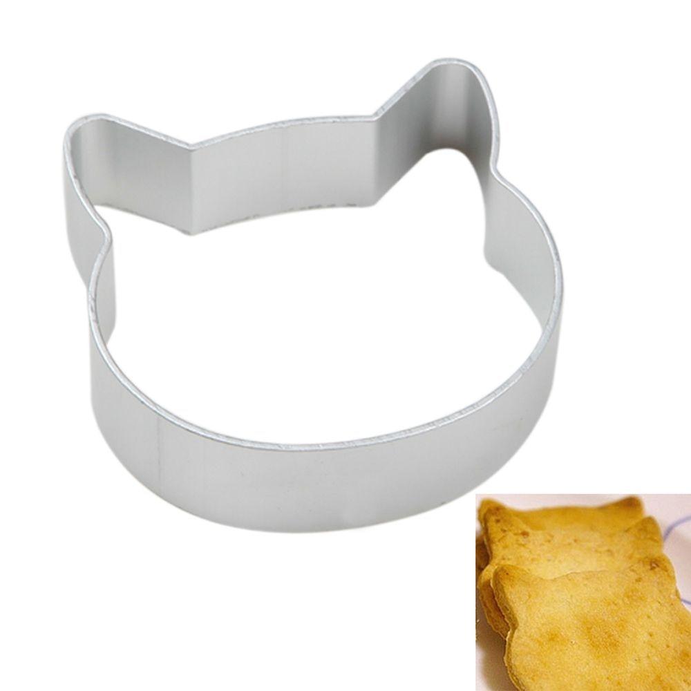 Molde de galleta en forma de cabeza de gato utensilios para horno fondant molde de pastel DIY arte de azúcar 3D cortadores de galletas para pastelería herramientas para hornear