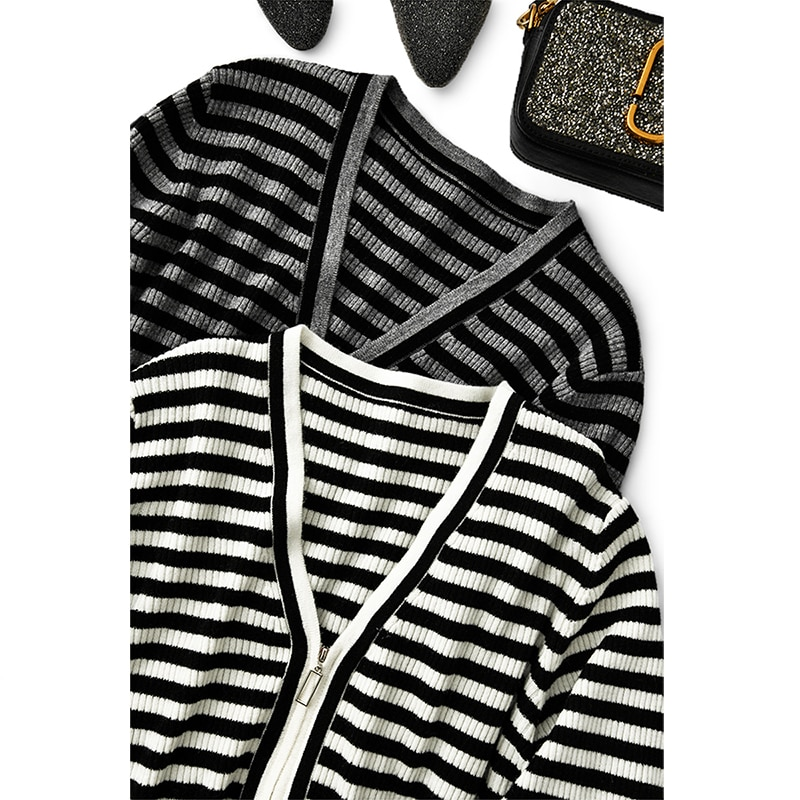SHUCHAN Striped Cardigans Women  Zipper  High Street  V-Neck Fashion Wool Spring/Autumn  A-straight  Sweater Knitted New 2021 enlarge