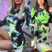 skmy tie dye dress sexy long sleeve round neck printed tight dress bodycon vacation outfits party clubwear women clothing