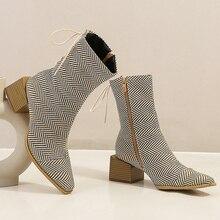 Créateur femmes mode 2020 à lacets jaune Chelsea bottes 5cm liège talons bottines fermetures éclair chaud fourrure bottes dame chaussures grande taille