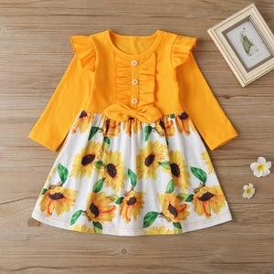 2-6 years girls' clothes autumn and winter new girls dresses children's chrysanthemum round neck long-sleeved princess dress