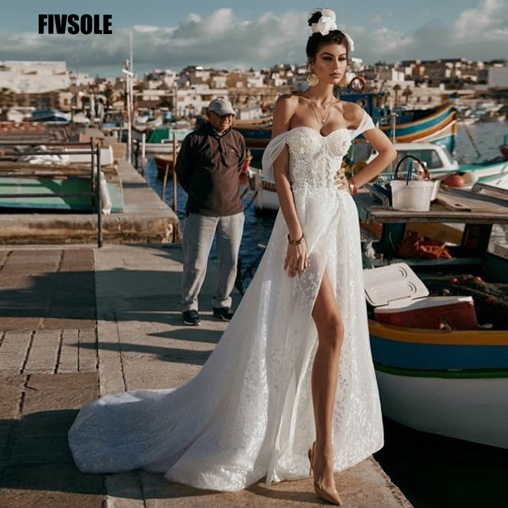 Review Fivsole Off Shoulder A Line Tulle Elegant Wedding Dress 2021 Sweetheart Charming Appliques Side Split Country Garden Bridal Gown