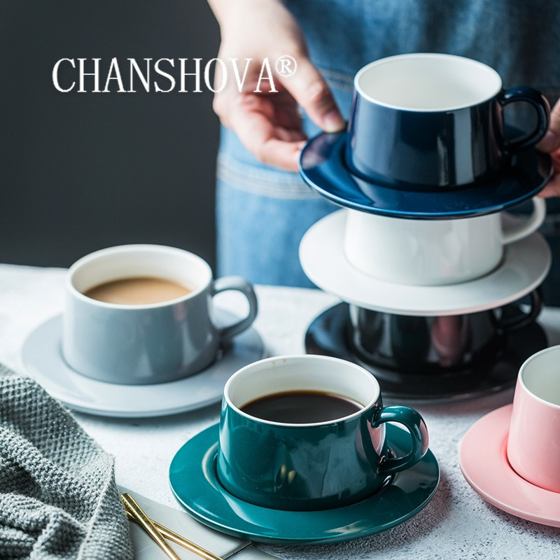 CHANSHOVA-طقم فناجين قهوة وصحون بورسلين ، سيراميك ، بسيط ، حديث ، صحن ، حليب ، H557 ، 200 مللي