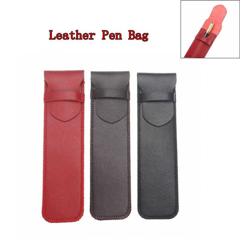 16X6cm bolso de lápiz genuino cuero de PU pluma estilográfica fundas funda bolsa Oficina escuela estudiantes suministros 16x3,3 cm