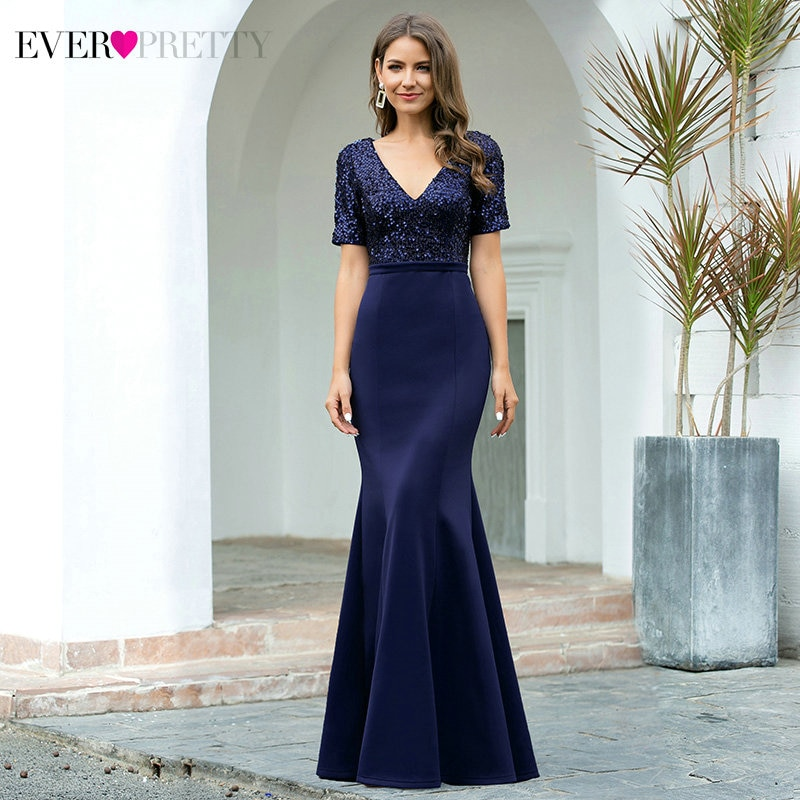 Sparkle Navy Blue Evening Dresses Ever Pretty EP00682NB Short Sleeve V-Neck Sequined Sexy Mermaid Gowns Robe De Soiree
