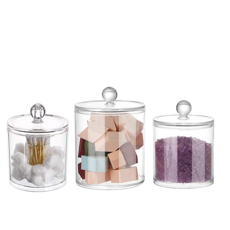 Makeup Organizer Storage Box Bathroom Accessories Cotton Swab Bath Salt Cotton Ball  Acrylic Storage Tank Transparent Plastic