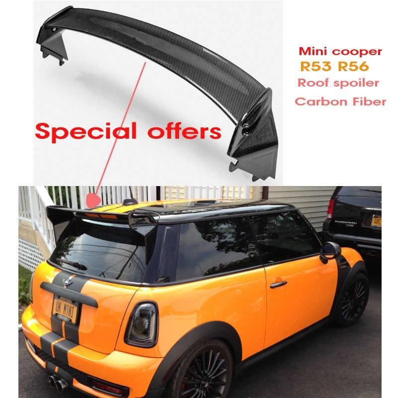 For Mini R56 GP Style Carbon Fiber Black Glossy Finished Rear Spoiler Wing with adjustable blade Exterior accessories body kit