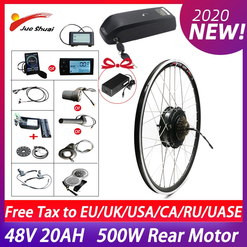 Kit de conversión de bicicleta eléctrica, Motor de cubo trasero de 500W,...