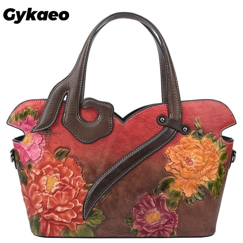 Gykaeo 2020 European and American Style Women's Floral Genuine Leather Bags Women Cowhide Tote Bag Ladies Shopping Shoulder Bags