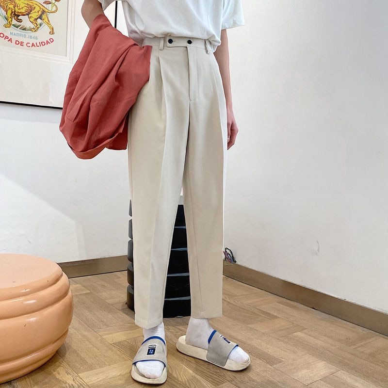 2021 Men's Straight Pants Loose Casual Pants Western Trouser thicken velvet Suit Pants Formal Business Cotton Trousers S-XL