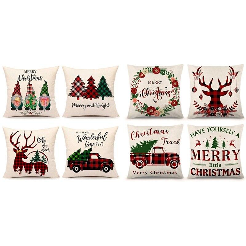 8 قطعة عيد الميلاد وسادة تغطي 18X18inch مزرعة زينة عيد الميلاد كيس وسادة ل أريكة الأريكة القطن الكتان