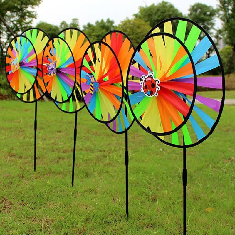 Colorful Polyester Wheel Windmill for Children Outdoor Activities and Garden Decoration Kids Windmill Toy