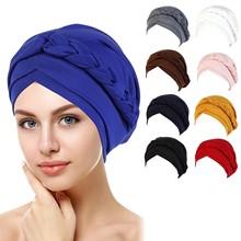 Cancer Chemo Cap Head Hat Cap Ethnic Pre-Tied Twisted Braid Beanie Bonnet Muslim Hair Loss Stretch H