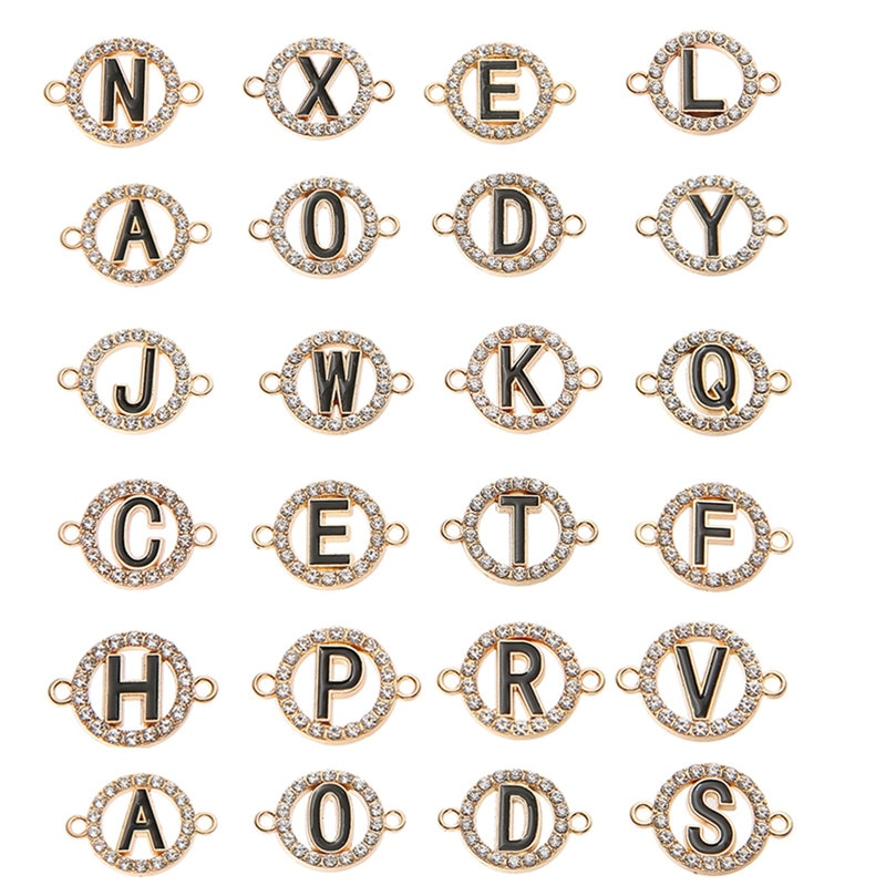 10pcs/lot Crystal Round Letter Charms Connector For Women Girls DIY Necklace Earrings For Jewelry Making Accessories retro resin earrings marble texture round circle ring charms 10pcs lot for diy drop earrings jewelry making accessories