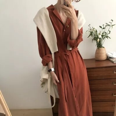 Korean Chic French Minority Spring and Autumn Clothing Elegant Loose Slimming Mid-Length Lazy Shirt