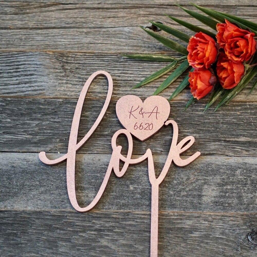 Topper do bolo do casamento do topper do bolo do casamento da data do amor