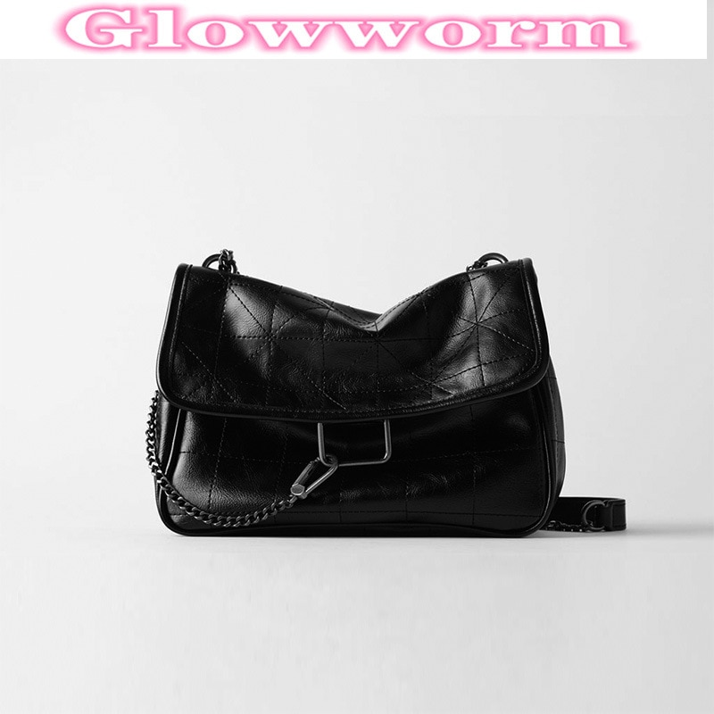 2021 New Rhombus Black Rock Soft Single Shoulder Oblique Span Chain Bag Luxury Handbags for Woman 2021 PU Leather Messenger Bag