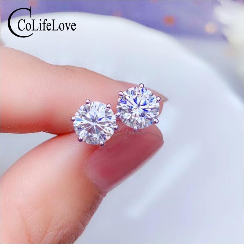 CoLife Jewelry 925 Silver Moissanite Earrings for Daily Wear 6.5mm VVS1 Grade Moissanite Stud Earrings Birthday Gift for Girl