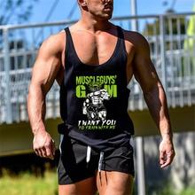 ยี่ห้อGym Mens Back Tank Topเสื้อกั๊กกล้ามเนื้อแฟชั่นแขนกุดStringerเพาะกายSingletsฟิตเนสออกกำลังกายเสื้อกีฬา