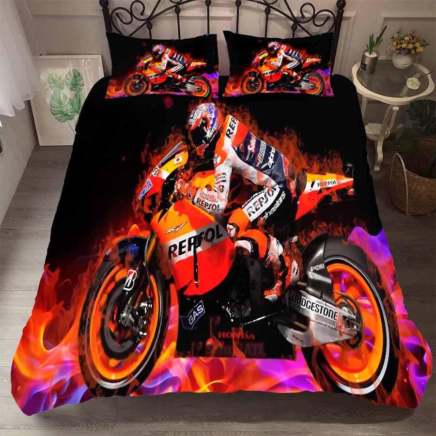 WOSTAR دراجة نارية سباق طقم سرير المنسوجات المنزلية الفاخرة الكبار حاف الغطاء و المخدة المفارش واحدة مزدوجة الملكة الملك الحجم