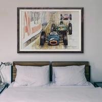 Peinture classique de voiture de course retro T012  65 affiches en soie personnalisees  cadeau de noel  Art mural de decoration pour la maison