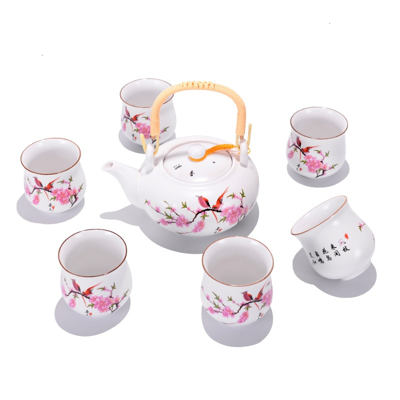 Set de té de determinar tetera con asa Tuba tetera de 6 tazas de boca grande capacidad un juego completo de cerámica juego de té regalo promoción