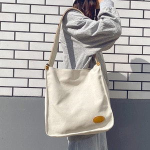 Simple Design Japanese Style Women Canvas Shoulder Bag Casual Daily Fresh