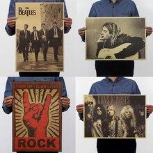 Affiche murale décorative de Rock de musique café   Papier Kraft, autocollants muraux à peindre, motifs multiples, image de bande détoiles, 51.5x36cm, Festival