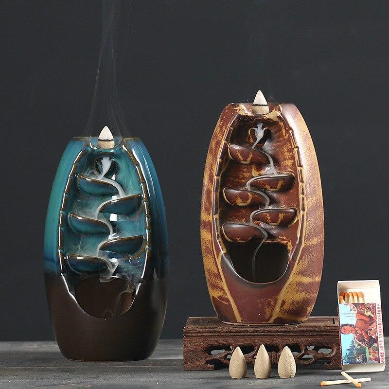 Decoração para Casa Backflow Cachoeira Incenso Queimador Especial Suporte Artesanato Cerâmica Fonte Fumaça Aromaterapia Base Presente