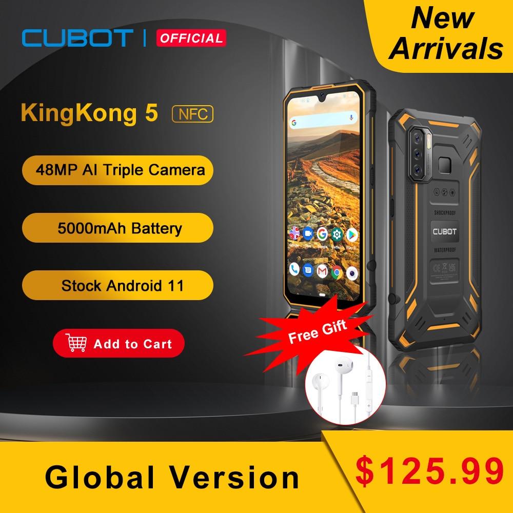 Cubot KingKong 5 Rugged Phone IP68 Waterproof Smartphone 5000mAh 48MP Triple Camera Android 11 NFC 4GB+32GB FACE ID Unlock