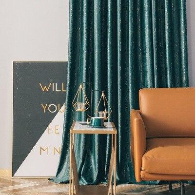 Cortinas para sala de estar nórdica, dormitorio Simple y moderno, cortinas opacas de terciopelo verde oscuro de lujo, franela de lujo de alta gama