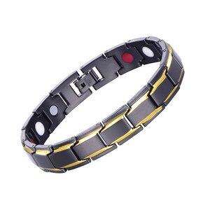 5pcs Black Healthy Magnetic Bracelet For Women Power Germanium Magnets Bracelets Bangles For Men Magnetic Therapy Bracelet