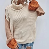 womens sweater contrast colors knitted pullovers turtle neck flare sleeve lady winter top high collar sweater for women 2021
