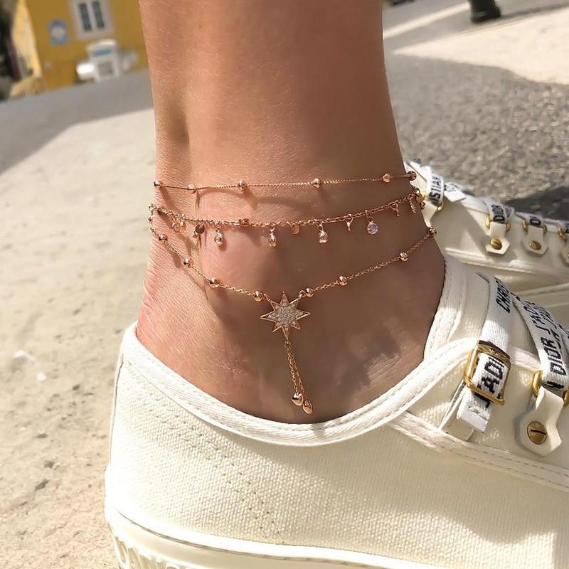En moda estrela tornozeleiras para mulher multilayes pulseira de cristal conjunto 2020 tornozeleiras feminino pé corrente praia jóias presente
