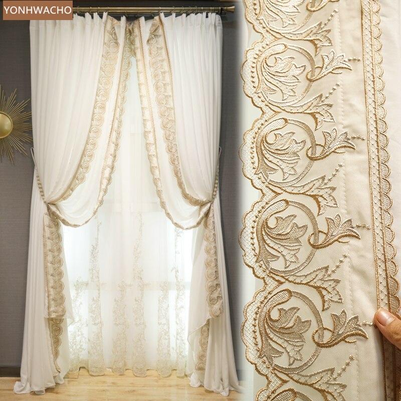 Cortinas personalizadas, ligeras, de lujo, románticas, europeas, francesas, con bordado de ventana para sala de estar, cortina de tela blanca, panel de tul C111