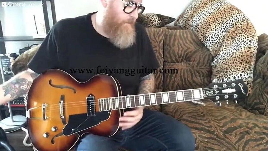 Grote wysokiej jakości gitara elektryczna, gitara półpusta, czerwona farba, różany gryf drewniany, chromowane akcesoria, pakiet fre